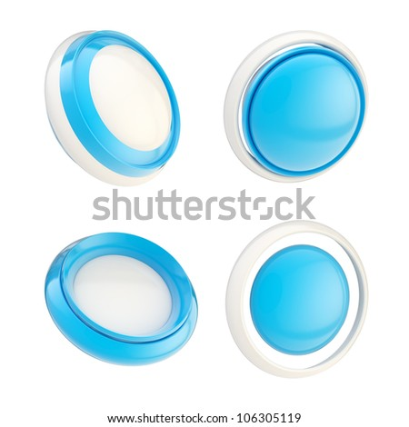 Set of blue glossy plastic copyspace template buttons isolated on white