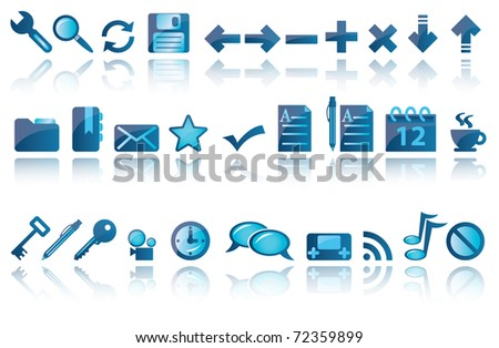Set of blue icons on the white background