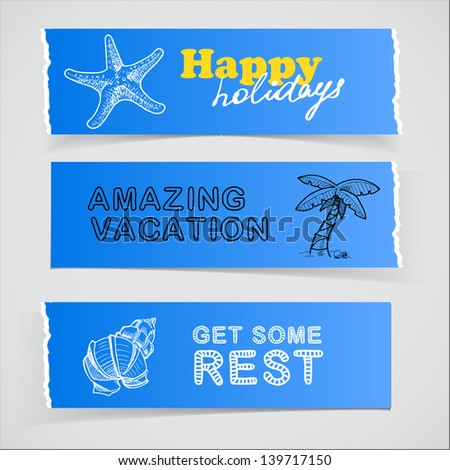 Set of blue promotional banners with vacation sketch illustrations