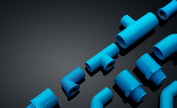 Set of blue PVC pipe fittings isolated on dark background. Blue plastic water pipe. PVC accessories for plumbing. Plumber equipment. Bend and three way connection plastic pipe for water drain sewage.