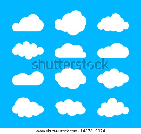 Set of blue sky, clouds. Cloud icon, cloud shape. Set of different clouds. Collection of cloud icon, shape, label, symbol. Graphic element . design element for logo, web and print.