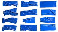 Set of Blue tapes on white background. Torn horizontal and different size blue sticky tape, adhesive pieces.