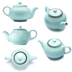 Set of blue teapot on white background