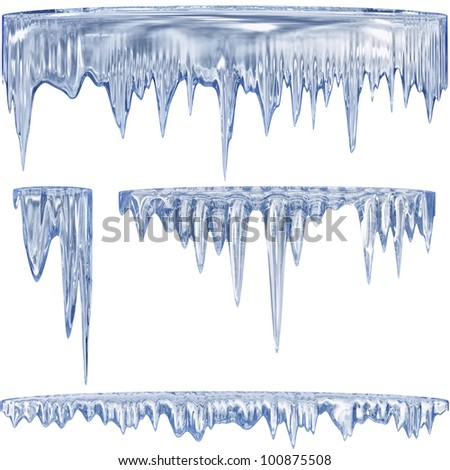 Set of 4 blue thawing icicles for christmas design