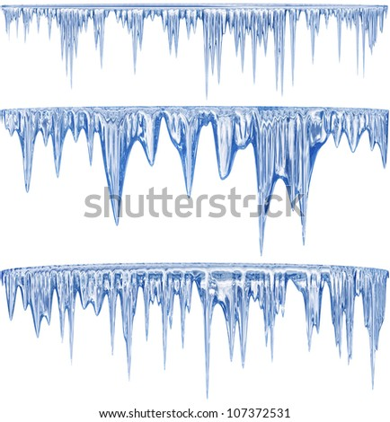 Set of 3 blue thawing icicles for christmas design