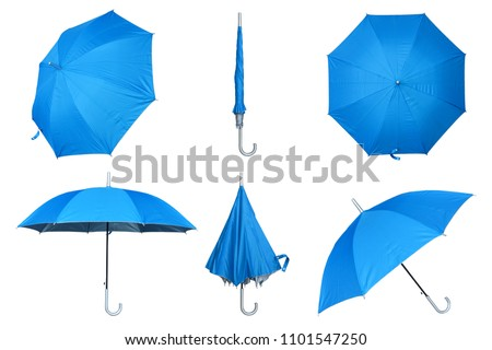 Set of blue umbrella isolated on a white background #1101547250