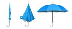 Set of blue umbrella isolated on a white background. Step to open the umbrella