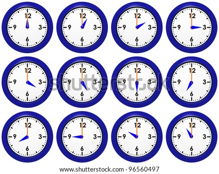Set of blue wall-clocks with different time
