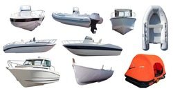 Set of  boats. Isolated over white background