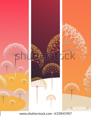 set of bookmarks with poetic trees landscape in orange shades