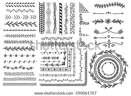 Set of border, brush, frame, page divider in doodle style