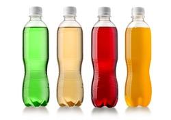set of bottled fruit juice isolated on white background