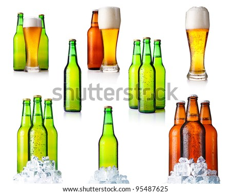 Set of bottles with beer and ice isolated on white background