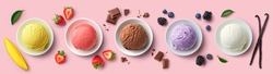Set of bowls with various colorful Ice Cream scoops with different flavors and fresh ingredients on pink background, top view
