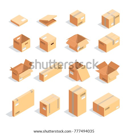 Set of boxes in isometric view isolated on white background. 3d cardboard boxes of different sizes, open and closed. Raster illustration.