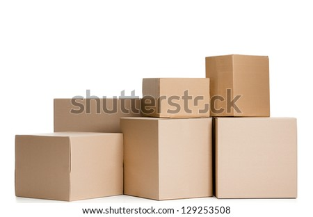 Set of boxes, isolated, white background