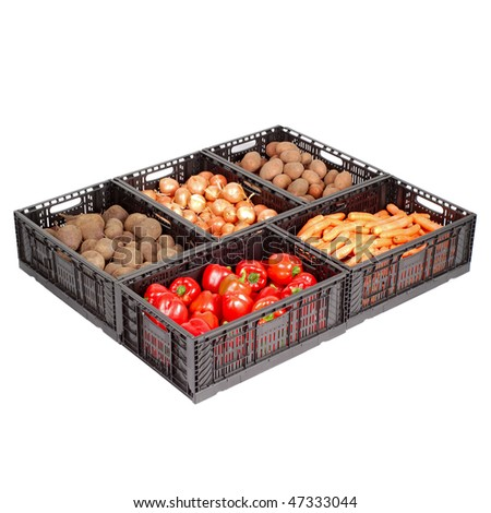 Set of boxes with vegetables isolated on white