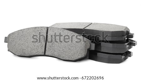 Set of brake pad, Maintenance spares for car isolated on white #672202696
