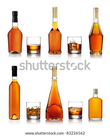 Set of brandy bottles isolated on white background #83226562