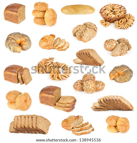 Set of bread and buns isolated on a white background.