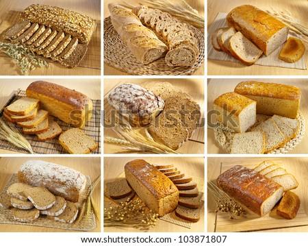 Set of breads arrangement on wooden table