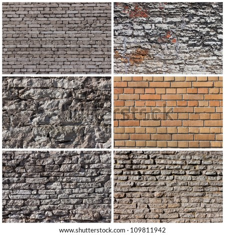 Set of brick and rock wall banners backgrounds