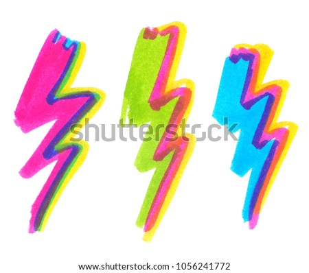 Set of bright abstract zigzag bolts of lightning painted in highlight marker pen on clean white background