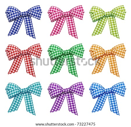 Set of bright bows on the white background