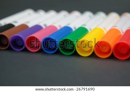 Set of bright colored markers