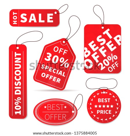 Set of bright colourful sale price labels isolated on white #1375884005