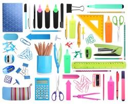 Set of bright school stationery on white background