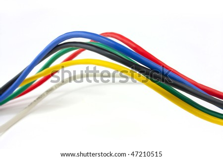Set of brightly coloured ethernet network cables on white background #47210515