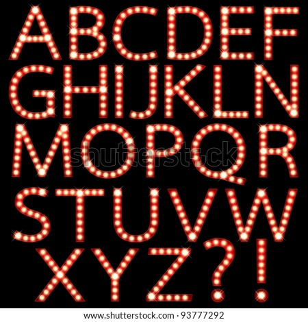 Set of broadway light bulb letters isolated on a black background