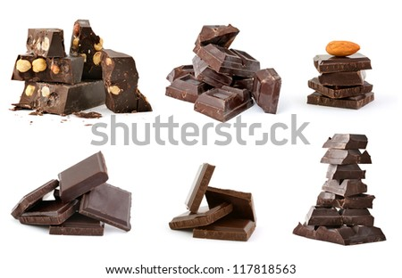 Set of broken chocolate heaps on white background
