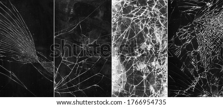 Set of 4 broken glass templates. Fractured screen. Shattered tablet display texture overlay effect. Stockfoto ©