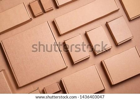 Set of Brown craft cardboard boxes, background