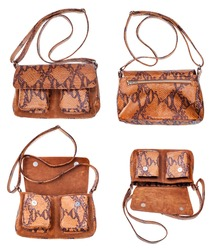 set of brown handbag handmade from snake leathers isolated on white background