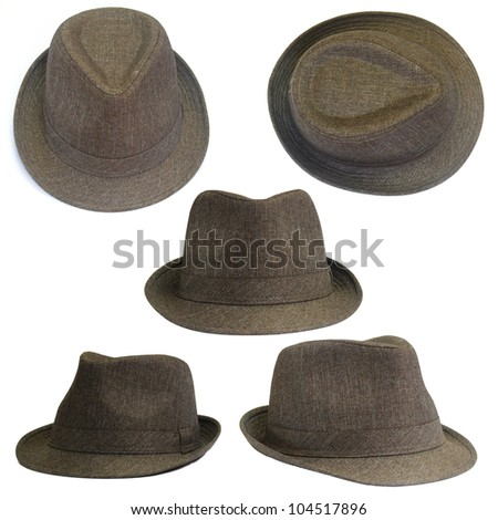 Set of brown hats - stock photo
