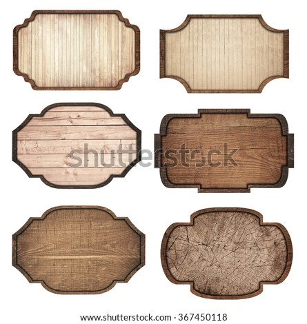 Set of brown wooden signboard, planks and dark frames are isolated on white background #367450118