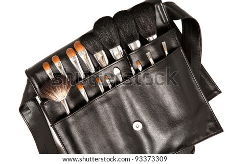 set of brushes for makeup in a case