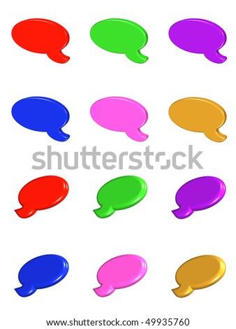 set of bubbles 3 d. different colors. white background