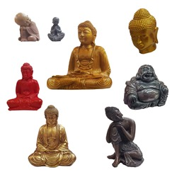 Set of Buddha figurines isolated on white background