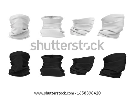 Set of buff on the face. Protective clothing, bandana, scarf, buff, neckscarf in white and black in front, back, side view. 3d illustration of mockup, empty template isolated on a white background.