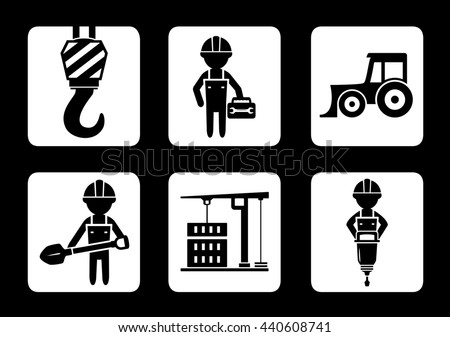 set of builder and construction equipment icons on black background