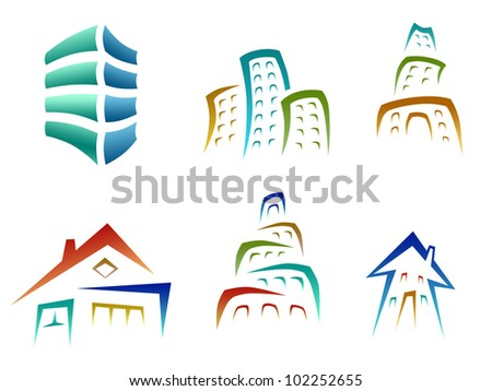 set of building and house icons