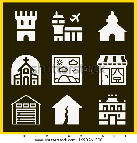 Set of 9 building filled icons such as church, building, airport, warehouse, tower, painting, church, earthquake