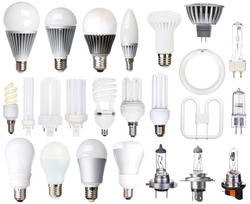 set of bulbs isolated on white background incandescent, compact fluorescent, halogen, LED light