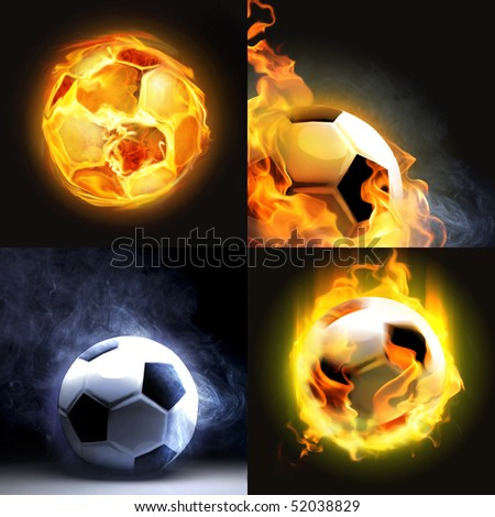 Set of burning balls