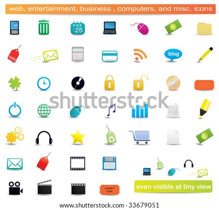 Set of business, computers, education, entertainment, and miscellaneous icons - stock photo