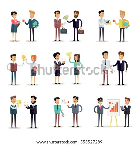 Set of business concepts  in flat style. Collection of office situations and people work interactions. Illustrations for concepts, web, icons, infographics, logo design. Isolated on white.